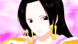 1girl animated animated_gif black_hair boa_hancock earrings female forehead long_hair one_piece pink_background solo tagme