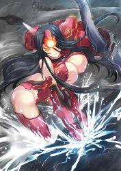1girl armor black_hair bouncing_breasts breasts crimson_typhoon haganef hair_over_one_eye helicopter huge_breasts lights long_hair looking_at_viewer mecha_musume mechanical_arm pacific_rim personification rain smile solo storm very_long_hair water yellow_eyes