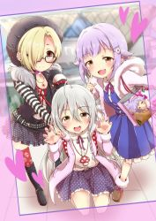 3girls :3 :d ahoge backpack bag beanie blonde_hair blouse blue_dress blush boots bow braid brown_eyes choker claw_pose collarbone comiket dress ear_piercing eyebrows_visible_through_hair finger_to_cheek frame frilled_dress frilled_skirt frills fur_boots fur_trim glasses grey_hair hair_intakes hair_ornament hair_over_one_eye hairclip hand_on_another's_shoulder hand_up hat heart hood hooded_jacket hoshi_shouko idolmaster idolmaster_cinderella_girls jacket jewelry knee_boots kneeling koshimizu_sachiko long_hair long_sleeves multiple_girls necklace numahito open_mouth over_shoulder piercing polka_dot_skirt print_legwear print_skirt purple_hair ribbon safety_pin self_shot shirasaka_koume shirt shopping_bag short_hair side_braid skirt skull_print smile star star_print striped striped_shirt thighhighs tokyo_big_sight vest white_blouse