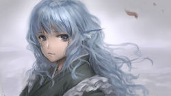 1girl alternate_hair_length alternate_hairstyle animal_ears bangs blue_eyes blue_hair closed_mouth crying crying_with_eyes_open eyelashes head_fins highres japanese_clothes kimono lips long_hair looking_at_viewer mermaid monster_girl sketch solo streaming_tears tears touhou upper_body wakasagihime wavy_hair woominwoomin5