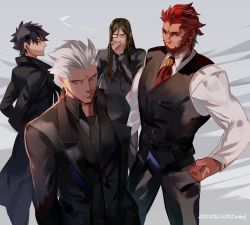 4boys alternate_costume archer astarone beard black_hair business_suit cigar cigarette dark_skin dark_skinned_male emiya_kiritsugu facial_hair fate/extella fate/extra fate/stay_night fate/zero fate_(series) formal glasses labcoat long_hair long_sleeves looking_at_viewer lord_el-melloi_ii male_focus manly multiple_boys necktie red_eyes red_hair rider_(fate/zero) short_hair simple_background smoke suit waver_velvet white_hair