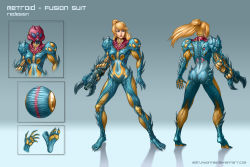 1girl adapted_costume arm_cannon ass blonde_hair brandon_dunn character_sheet claws fusion_suit gradient_background metroid metroid_fusion ponytail power_armor redesign samus_aran
