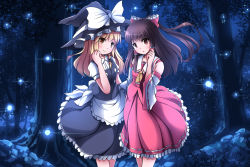 2girls :o apron black_hair blonde_hair bow braid cowboy_shot cravat detached_sleeves fireflies forest frilled_skirt frills hair_bow hair_ribbon hair_tubes hakurei_reimu hand_on_another's_hip hand_on_own_cheek hat hat_ribbon head_tilt highres kirisame_marisa long_hair looking_at_viewer multiple_girls nature night outdoors red_eyes ribbon ribbon-trimmed_sleeves ribbon_trim risutaru sidelocks single_braid skirt skirt_set smile standing touhou tress_ribbon waist_apron wind witch_hat yellow_eyes