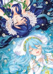 2girls aqua_(fire_emblem_if) artist_request blue_hair breasts dancer dress eyes_closed fire_emblem fire_emblem:_kakusei fire_emblem_if lucina multiple_girls nintendo smile water