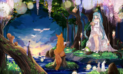 1girl aqua_eyes aqua_hair bird bouquet bunny candle dress elbow_gloves flower forest fox frog gloves grass hatsune_miku hnanati long_hair nature squirrel tree twintails very_long_hair vocaloid water wedding_dress white_dress white_gloves