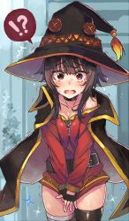 !? 1girl bandaged_leg belt blush breasts brown_hair cape choker cleavage collar collarbone covering covering_crotch cowboy_shot dress embarrassed fingerless_gloves flat_chest gloves hat kono_subarashii_sekai_ni_shukufuku_wo! looking_at_viewer megumin moze no_panties open_mouth red_eyes single_thighhigh solo sweat tears thighhighs trembling witch_hat
