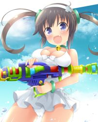 1girl blue_eyes bracelet breasts brown_hair casual_one-piece_swimsuit fang hairband jewelry large_breasts looking_at_viewer maccha minori_(senran_kagura) one-piece_swimsuit senran_kagura senran_kagura_(series) solo swimsuit swimsuit_skirt twintails water_gun