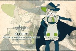 1girl breasts commentary_request copyright_name glasses green_eyes grey_hair hand_on_hip hat mepo_(raven0) pixiv_fantasia pixiv_fantasia_fallen_kings short_hair sleepy_(mepo) solo thighhighs witch_hat zoom_layer