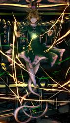 1girl collar dress electricity floating frown full_body ghost_tail green_dress green_hair haru-kun hat highres ofuda rope shide shimenawa soga_no_tojiko tate_eboshi touhou yin_yang