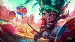 candy fang green_eyes green_hair highres league_of_legends official_art pointy_ears poppy twintails