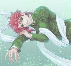 1boy baitu earrings gakuran jewelry jojo_no_kimyou_na_bouken kakyouin_noriaki male_focus red_hair scarf school_uniform solo