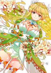 1girl breasts cherry_blossoms cowboy_shot detached_collar dutch_angle elsword flower futo_20 gloves grand_archer_(elsword) green_eyes green_hair juliet_sleeves long_hair long_sleeves pointy_ears puffy_sleeves rena_(elsword) shiny shiny_skin skirt smile solo thighhighs white_background white_skirt