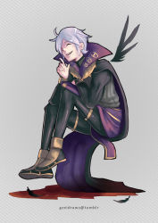 1boy ^_^ artist_name bangs black_feathers black_legwear book bridal_gauntlets cape commentary eyes_closed feathers fire_emblem fire_emblem:_kakusei grey_background gzei henry_(fire_emblem) highres holding male_focus outline sandals sitting smile solo striped striped_background teeth vertical_stripes white_hair