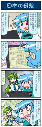 2girls 4koma artist_self-insert blue_eyes blue_hair breasts clenched_hand comic commentary_request crying detached_sleeves eyes_closed frog_hair_ornament gradient gradient_background green_hair hair_ornament hair_tubes hands_together heterochromia highres juliet_sleeves kochiya_sanae large_breasts long_sleeves mizuki_hitoshi monitor multiple_girls nontraditional_miko open_mouth puffy_sleeves red_eyes short_hair smile snake_hair_ornament streaming_tears surprised sweat sweatdrop tatara_kogasa tears touhou translated vest wide_sleeves