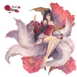 1girl ahri animal_ears artist_request bare_legs barefoot black_hair braid breasts cleavage detached_sleeves feet female flower fox_tail kitsunemimi league_of_legends long_hair long_sleeves looking_at_viewer multiple_tails single_braid sitting skirt tail white_skirt yellow_eyes