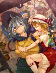 2girls blonde_hair bloomers broken candy colored_eyelashes crystal dutch_angle eyeball eyes_closed finger_in_another's_mouth flandre_scarlet hat hat_ribbon holding_another's_hair hug kneehighs komeiji_koishi koutamii lollipop long_sleeves looking_at_viewer lying mob_cap multiple_girls on_back on_bed on_side open_mouth puffy_sleeves ribbon shirt short_hair short_sleeves silver_hair skirt skirt_set sleeping string stuffed_animal stuffed_dolphin stuffed_toy sweets teddy_bear third_eye touhou underwear vest white_legwear wide_sleeves wings wrist_cuffs