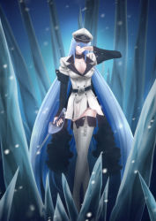 1girl akame_ga_kill! aqua_hair blue_eyes blue_hair boots breasts cleavage esdeath esdese hat highres ice_wings large_breasts long_hair looking_at_viewer military military_uniform peaked_cap skirt snow solo standing sword thigh_boots thighs uniform very_long_hair weapon white_legwear