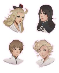 2boys 2girls ;) agnes_oblige ahoge black_hair blonde_hair blue_eyes bow bravely_default:_flying_fairy brown_eyes brown_hair clockwork-cadaver edea_lee green_eyes hair_bow hairband highres huge_ahoge lips long_hair multiple_boys multiple_girls nose one_eye_closed portrait ringabell smile tiz_oria transparent_background