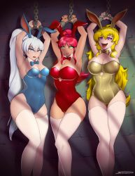 3girls :d animal_ears armpits arms_up bare_arms bdsm blonde_hair blue_eyes bondage bowtie breasts bunny_ears bunnysuit cameltoe chains cleavage detached_collar earrings fangs fingernails green_eyes hips large_breasts legs leotard lips lipstick long_hair medium_breasts multiple_girls nail_polish naughty_face neck_ribbon open_mouth ponytail purple_eyes pyrrha_nikos red_hair restrained ribbon rwby saliva shackles shonomi signature sweat thigh_gap thighhighs weiss_schnee white_hair white_legwear yang_xiao_long