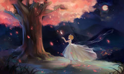 1girl barefoot cherry_blossoms dress duximeng feathers full_body full_moon grass highres moon night night_sky outstretched_arms petals sakura_hime see-through short_hair sky sparkle standing star_(sky) starry_sky strapless_dress tree tsubasa_chronicle white_dress