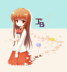 1girl brown_eyes brown_hair character_name copyright_name field flower flower_field holding ib ib_(ib) long_hair looking_at_viewer rose simple_background smile solo tagme two-tone_background zimajiang