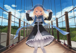 1girl arms_up black_dress blonde_hair blue_eyes bridge cait cross cross_necklace dress eyebrows_visible_through_hair floating_hair hair_ribbon highres jewelry long_hair looking_at_viewer magi_in_wanchin_basilica necklace nun open_mouth pantyhose ribbon smile solo standing thighhighs white_legwear white_ribbon xiao_ma