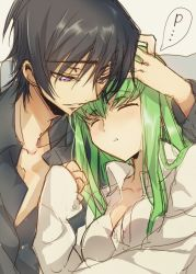 ... 1boy 1girl :o black_hair black_shirt blush c.c. code_geass collarbone creayus eyebrows eyebrows_visible_through_hair eyes_closed green_hair hand_on_another's_head lelouch_lamperouge light_smile long_hair long_sleeves parted_lips purple_eyes shirt sketch sleeping small_breasts speech_bubble spoken_ellipsis upper_body very_long_hair white_shirt