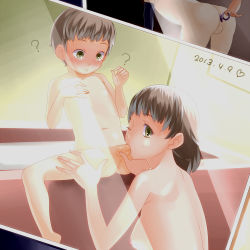1boy 1girl ? age_difference anal anal_object_insertion bathroom bathtub blush breasts brown_hair butt_plug dated fellatio femdom green_eyes hetero incest indoors karintou18 large_breasts leg_grab looking_at_viewer looking_back milf mother_and_son nipples nude object_insertion oral penis photo_(object) short_hair shota spread_legs straight_shota teenage_girl_and_younger_boy thigh_grab uncensored wink