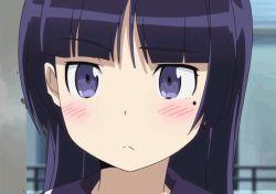 1girl animated animated_gif blush embarrassed gokou_ruri ore_no_imouto_ga_konna_ni_kawaii_wake_ga_nai purple_eyes purple_hair solo tagme