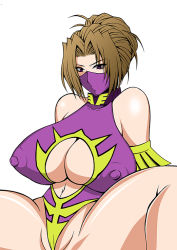 1girl bare_shoulders breasts brown_hair erect_nipples female highleg huge_breasts leotard masa_ani mask navel partially_visible_vulva purple_eyes roshiman short_hair sideboob simple_background solo spread_legs thighs white_background