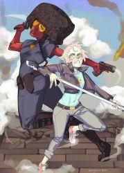 2girls alternate_universe garnet_(steven_universe) gun multiple_girls pearl_(steven_universe) spear steven_universe yuri