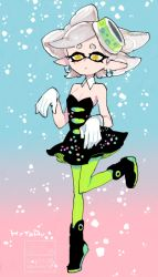 1girl artist_name character_name detached_collar earrings gloves gradient gradient_background green_legwear hotaru_(splatoon) jewelry l_hakase mole mole_under_eye pantyhose pointy_ears solo splatoon white_gloves