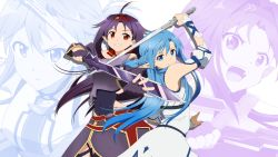 2girls asuna_(sao-alo) blue_eyes blue_hair breastplate fingerless_gloves gloves hairband leotard long_hair multiple_girls pointy_ears purple_hair red_eyes rumia_(compacthuman) skirt sword sword_art_online weapon yuuki_(sao) zoom_layer