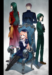 1girl 3boys black_legwear blonde_hair blue_eyes cigar dress dual_persona fate/grand_order fate/stay_night fate/zero fate_(series) green_eyes green_hair hat highres kayneth_archibald_el-melloi long_hair lord_el-melloi_ii lord_el-melloi_ii_case_files md5_mismatch multiple_boys older pantyhose reines_archisorte_el-melloi short_hair sitting waver_velvet ycco_(estrella)