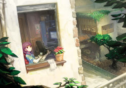 1girl barefoot chair cityscape crossed_ankles dutch_angle handheld_game_console hime_cut long_hair monitor nintendo_3ds office_chair on_bed original orz_(artist) playing_games purple_eyes purple_hair sitting solo
