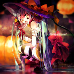 1girl aka_tonbo_(lililil) animal_ears aqua_eyes aqua_hair bandage bell bow candy cat_ears cat_tail dress hair_bell hair_ornament halloween hat hatsune_miku lollipop long_hair looking_at_viewer solo solo_focus squatting striped striped_legwear tail tattoo thighhighs trick_or_treat twintails very_long_hair vocaloid witch_hat