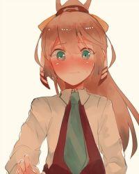 1girl blue_eyes blush brown_hair embarrassed hair_ribbon itomugi-kun kantai_collection kazagumo_(kantai_collection) necktie ponytail ribbon school_uniform simple_background solo