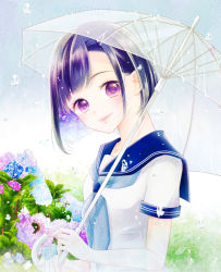 1girl aoi_mitsu black_hair day flower gradient_hair head_tilt hydrangea leaf lips looking_at_viewer multicolored_hair original outdoors purple_eyes purple_hair rain sailor_collar school_uniform serafuku short_hair short_sleeves smile solo transparent_umbrella umbrella upper_body water_drop