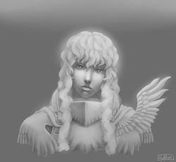 1boy 90s absurdres artist_name berserk expressionless feathers grey_background greyscale griffith highres koffo-art long_hair male_focus monochrome portrait signature simple_background solo