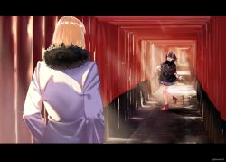 1boy 1girl alternate_costume arm_warmers bare_legs black_coat blonde_hair buttons coat fang fate/grand_order fate_(series) fur-trimmed_coat fur_trim fushimi_inari_taisha hair_ornament high_heels highres horns kerorira letterboxed long_coat looking_at_another multiple_torii oni oni_horns open_mouth outdoors purple_eyes purple_hair red_shoes sakata_kintoki_(fate/grand_order) shoes short_hair shuten_douji_(fate/grand_order) smile standing standing_on_one_leg sunlight twitter_username