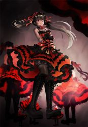 1girl bare_shoulders black_hair boots crossed_arms date_a_live dress from_below gothic_lolita heterochromia highres knee_boots lace lace-trimmed_thighhighs lolita_fashion long_hair platform_boots smile solo thighhighs thighs tied_hair tokisaki_kurumi twintails yumekii