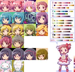 3boys 6+girls akemi_homura animal_ears arm_up bespectacled black_hair blonde_hair blue_eyes blue_hair brown_eyes brown_hair child colored cosplay crossdressing crying crying_with_eyes_open drill_hair food_in_mouth girl_with_bear_(madoka_magica) glasses gloves green_eyes green_hair grin hair_ornament hair_ribbon hairband hairclip hat i'm_such_a_fool kamijou_kyousuke kaname_junko kaname_madoka kaname_madoka_(cosplay) kaname_tatsuya kyubey magical_girl mahou_shoujo_madoka_magica miki_sayaka multiple_boys multiple_girls oktavia_von_seckendorff open_mouth outline parted_lips pink_eyes pink_hair pixel_art pocky red_eyes red_hair ribbon sakura_kyouko saotome_kazuko sb sb_(coco1) shizuki_hitomi short_twintails smile soul_gem spoilers sprite_sheet standing tears tomoe_mami translation_request twintails ultimate_madoka witch_(madoka_magica) wraith_(madoka_magica) yellow_eyes yoshihiko_(eris0424)