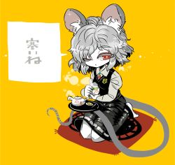 1girl animal_ears barefoot black_skirt black_vest breasts brooch collared_shirt colored_eyelashes cup eyebrows_visible_through_hair eyes_visible_through_hair food grey_hair grey_shirt half-closed_eye jewelry long_sleeves looking_to_the_side mouse_ears mouse_tail nazrin one_eye_closed pendant puffy_long_sleeves puffy_sleeves red_eyes saucer seiza shiny shiny_clothes shiny_hair shirt short_hair simple_background sitting skirt skirt_set small_breasts solo sparkle steam tail tea teacup teapot toes touhou translation_request tray vest yellow_background yt_(wai-tei)