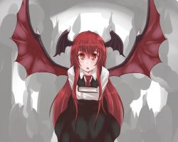1girl aura b.d bangs black_dress blush book collared_shirt colored_eyelashes cowboy_shot demon_wings dress flying hair_between_eyes highres hips holding holding_book horns koakuma leaning_forward long_hair long_sleeves looking_at_viewer necktie open_mouth red_eyes red_hair red_necktie shiny shiny_hair shirt sidelocks sleeveless sleeveless_dress slit_pupils solo touhou very_long_hair white_shirt wings
