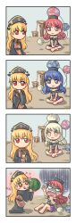 +_+ 2girls 4koma barefoot black_dress black_shirt blonde_hair blue_eyes blue_hair blush blush_stickers chinese_clothes collar comic dress earth_(ornament) emphasis_lines expressionless fang hat hecatia_lapislazuli highres idea indian_style junko_(touhou) levitation long_hair long_sleeves looking_at_another moon_(ornament) multicolored_skirt multiple_girls no_mouth off-shoulder_shirt open_mouth red_eyes red_hair ribbon scared shaded_face shirt short_sleeves sitting smile sparkle tabard thinking tongue tongue_out touhou very_long_hair white_chalk_lines wide_sleeves yellow_eyes