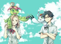 1girl blue_eyes brown_eyes brown_hair digimon digimon_adventure digimon_adventure_tri. glasses gomamon green_eyes highres kido_jou long_hair necktie palmon school_uniform short_hair tachikawa_mimi