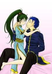 1boy 1girl barefoot blue_eyes blue_hair blush dress fire_emblem fire_emblem:_rekka_no_ken green_eyes green_hair hector lyndis_(fire_emblem) ponytail shirt smile