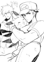 2boys absurdres baseball_cap denim ebippoid eyes_closed greyscale hands_in_pockets hat highres jeans jitome looking_at_another looking_at_viewer male_focus monochrome multiple_boys ookido_green ookido_green_(sm) open_collar pants pikachu pokemon pokemon_(creature) pokemon_(game) pokemon_sm raglan_sleeves red_(pokemon) red_(pokemon)_(sm) shirt short_hair sitting smile spiked_hair t-shirt