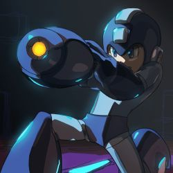 1boy android animated animated_gif arm_cannon blue_eyes helmet lowres male_focus one_knee rockman rockman_(character) solo weapon