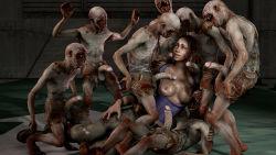 1girl 3d 6+boys breasts cum dark_skin gangbang monster multiple_boys nipples penis resident_evil sheva_alomar teeth